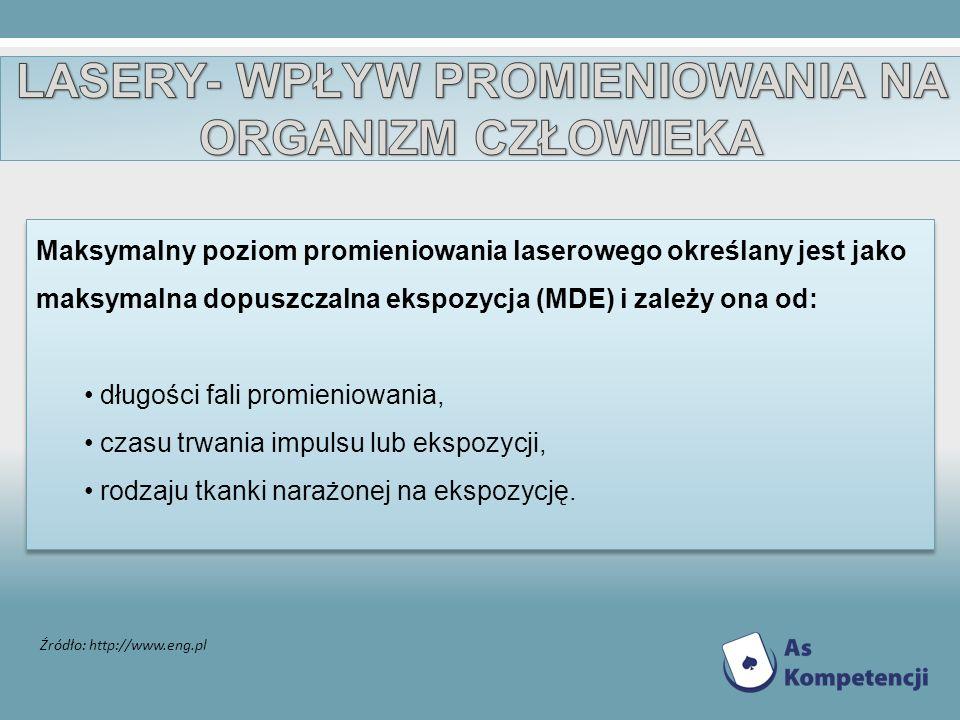 Źródło: http://www.eng.pl Maksymalny poziom promieniowania laserowego określany jest jako maksymalna dopuszczalna ekspozycja (MDE) i zależy ona od: dł