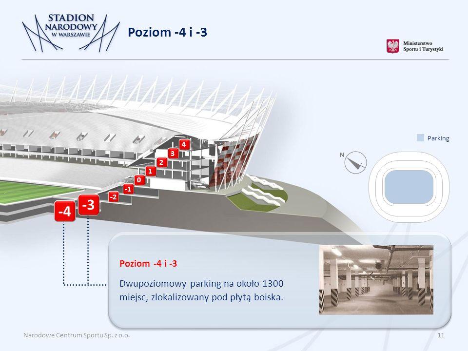 Poziom -4 i -3 Dwupoziomowy parking na około 1300 miejsc, zlokalizowany pod płytą boiska. Narodowe Centrum Sportu Sp. z o.o. 11 Poziom -4 i -3 4 3 2 1