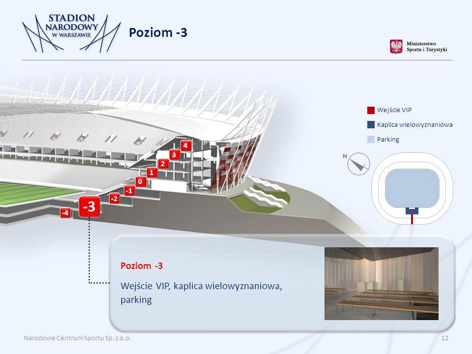 Narodowe Centrum Sportu Sp. z o.o. 12 Poziom -3 4 3 2 1 0 -2 -4 -3 Poziom -3 Wejście VIP, kaplica wielowyznaniowa, parking Parking Kaplica wielowyznan