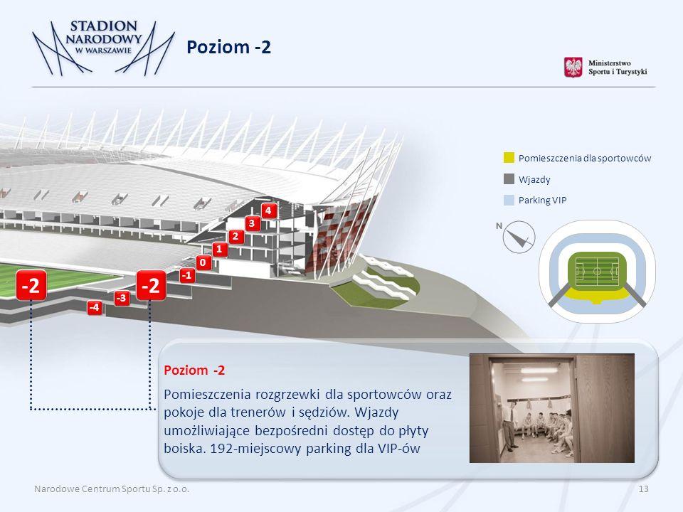 Narodowe Centrum Sportu Sp. z o.o. 13 Poziom -2 4 3 2 1 0 -4 Poziom -2 Pomieszczenia rozgrzewki dla sportowców oraz pokoje dla trenerów i sędziów. Wja