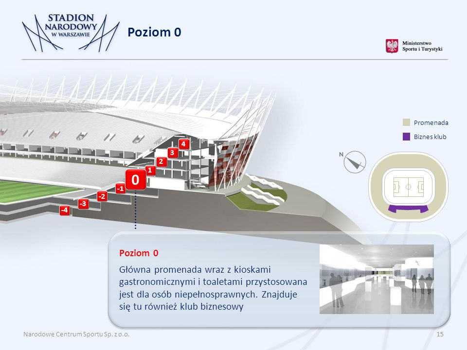 Narodowe Centrum Sportu Sp. z o.o. 15 Poziom 0 Główna promenada wraz z kioskami gastronomicznymi i toaletami przystosowana jest dla osób niepełnospraw