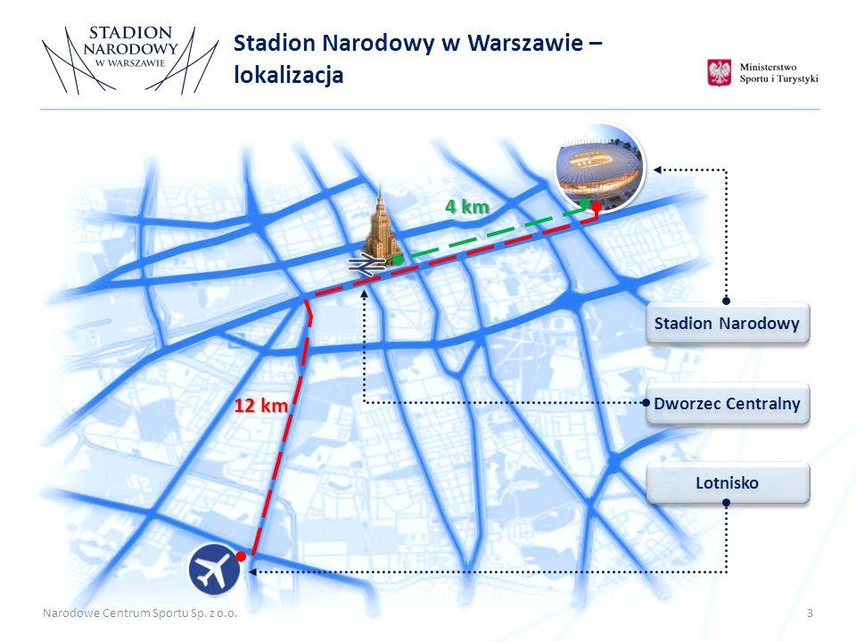 Lotnisko Dworzec Centralny Stadion Narodowy 12 km 4 km Narodowe Centrum Sportu Sp. z o.o. 3 Stadion Narodowy w Warszawie – lokalizacja