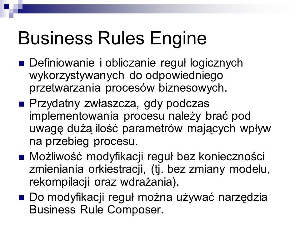 Business Rules Engine Definiowanie i obliczanie reguł logicznych wykorzystywanych do odpowiedniego przetwarzania procesów biznesowych.