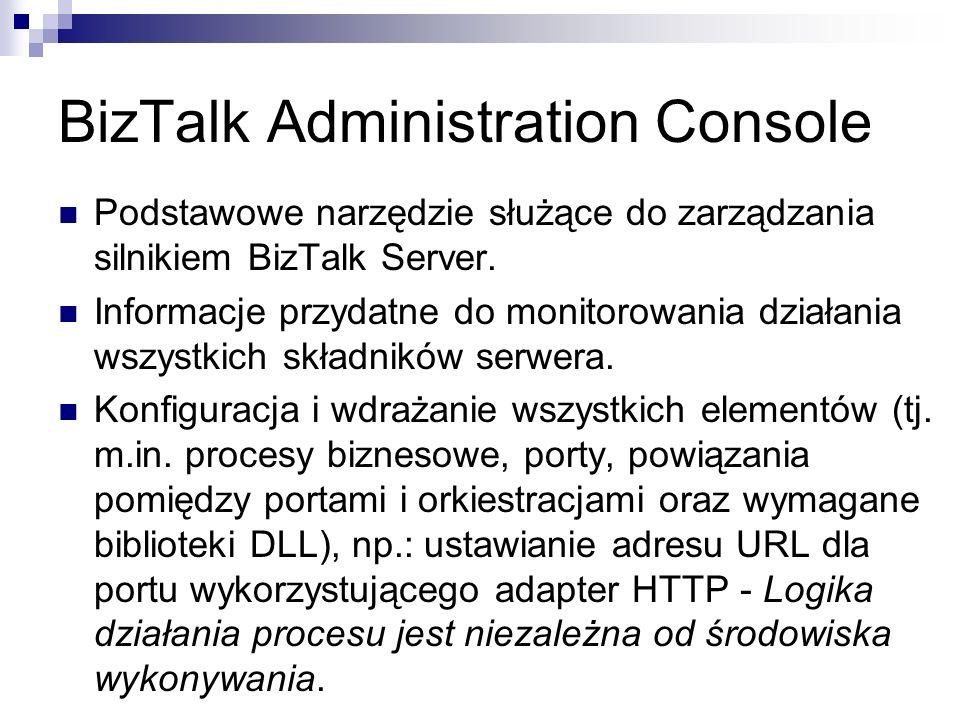 BizTalk Administration Console Podstawowe narzędzie służące do zarządzania silnikiem BizTalk Server.