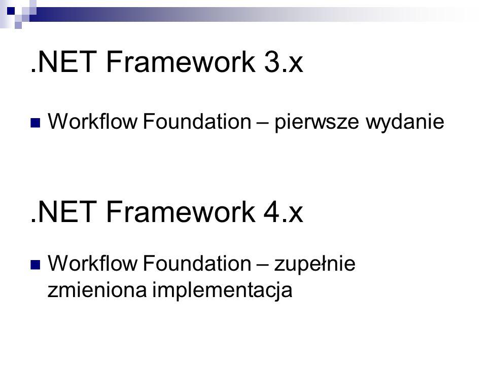 .NET Framework 3.x Workflow Foundation – pierwsze wydanie.NET Framework 4.x Workflow Foundation – zupełnie zmieniona implementacja
