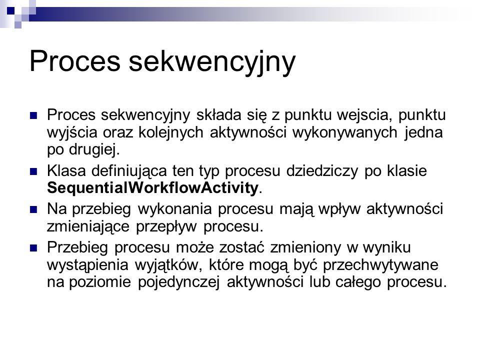 Proces sekwencyjny Proces sekwencyjny składa się z punktu wejscia, punktu wyjścia oraz kolejnych aktywności wykonywanych jedna po drugiej.