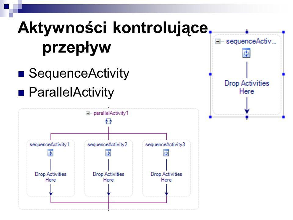 Aktywności kontrolujące przepływ SequenceActivity ParallelActivity