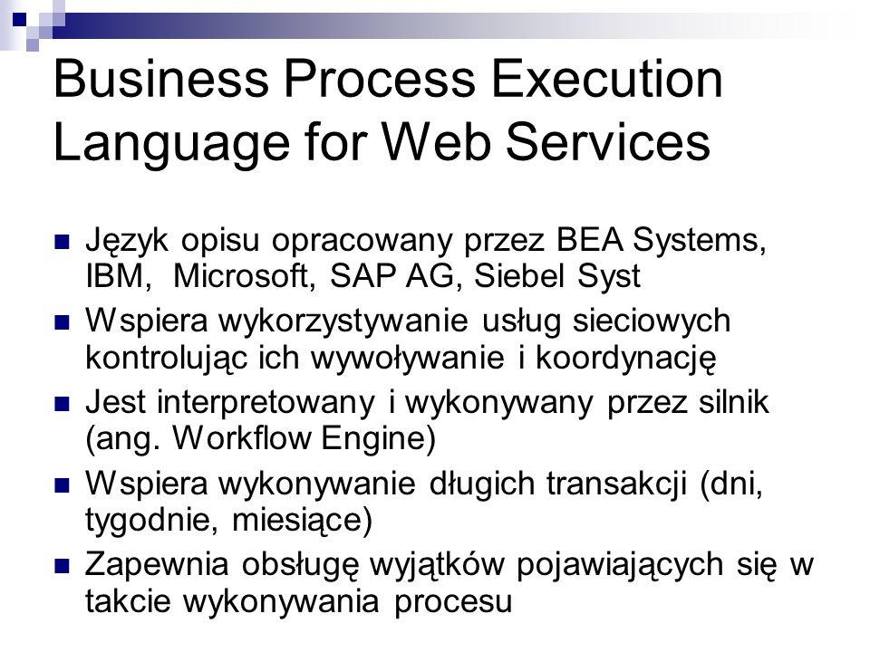 Business Process Execution Language for Web Services Język opisu opracowany przez BEA Systems, IBM, Microsoft, SAP AG, Siebel Syst Wspiera wykorzystywanie usług sieciowych kontrolując ich wywoływanie i koordynację Jest interpretowany i wykonywany przez silnik (ang.