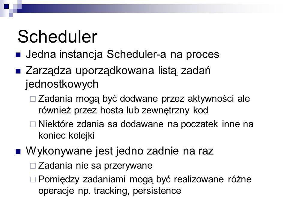 Scheduler Jedna instancja Scheduler-a na proces Zarządza uporządkowana listą zadań jednostkowych Zadania mogą być dodwane przez aktywności ale również przez hosta lub zewnętrzny kod Niektóre zdania sa dodawane na poczatek inne na koniec kolejki Wykonywane jest jedno zadnie na raz Zadania nie sa przerywane Pomiędzy zadaniami mogą być realizowane różne operacje np.