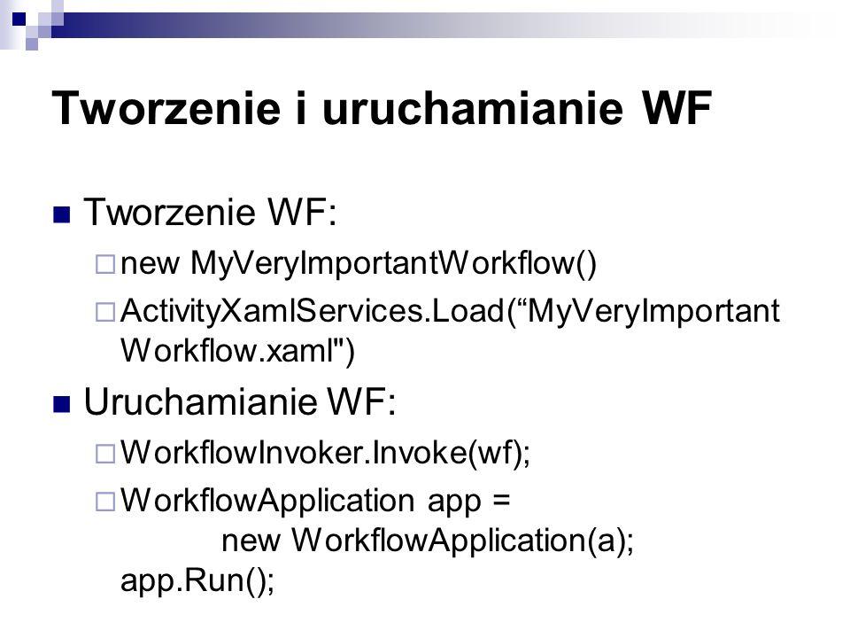 Tworzenie i uruchamianie WF Tworzenie WF: new MyVeryImportantWorkflow() ActivityXamlServices.Load(MyVeryImportant Workflow.xaml ) Uruchamianie WF: WorkflowInvoker.Invoke(wf); WorkflowApplication app = new WorkflowApplication(a); app.Run();