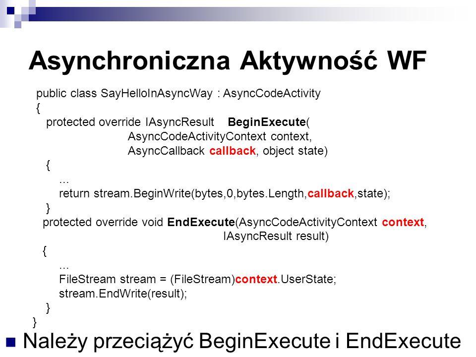 Asynchroniczna Aktywność WF Należy przeciążyć BeginExecute i EndExecute public class SayHelloInAsyncWay : AsyncCodeActivity { protected override IAsyncResult BeginExecute( AsyncCodeActivityContext context, AsyncCallback callback, object state) {...