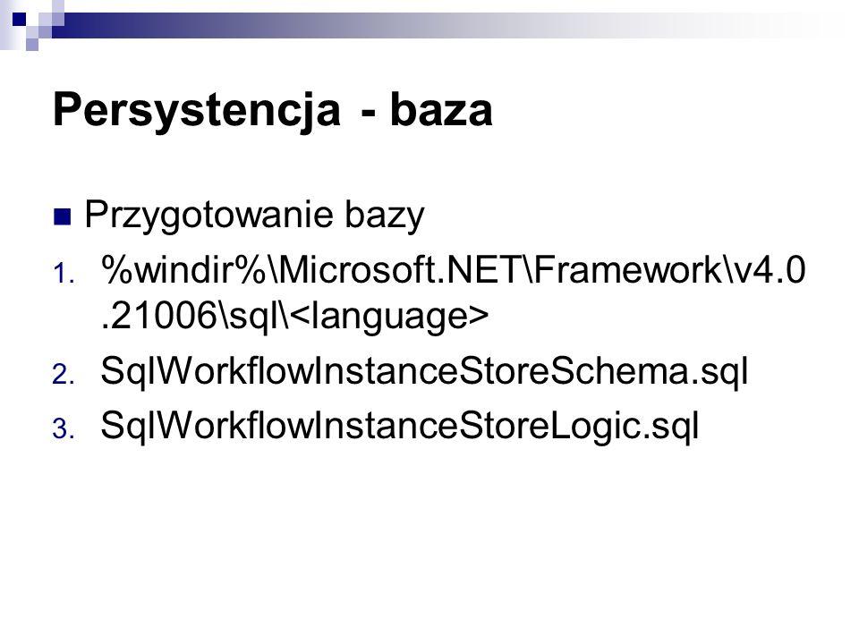 Persystencja - baza Przygotowanie bazy 1.%windir%\Microsoft.NET\Framework\v4.0.21006\sql\ 2.