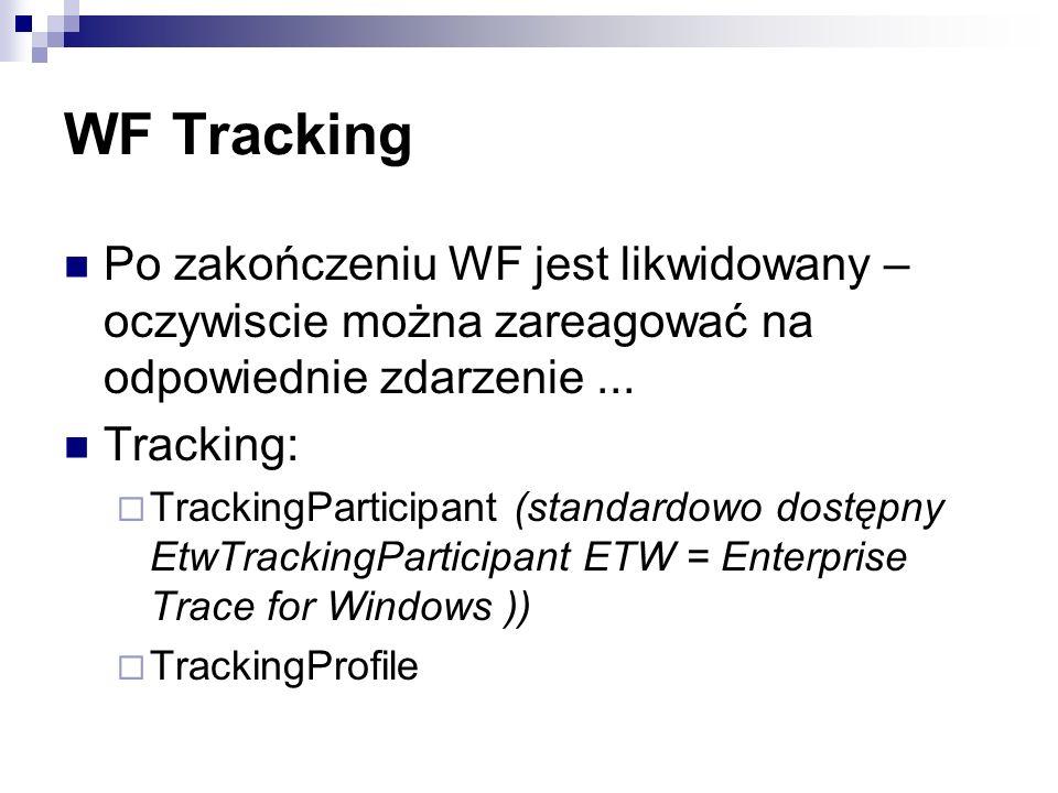 WF Tracking Po zakończeniu WF jest likwidowany – oczywiscie można zareagować na odpowiednie zdarzenie...