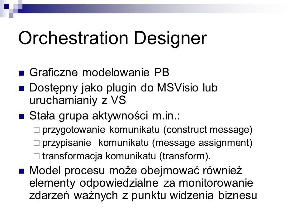 Orchestration Designer Graficzne modelowanie PB Dostępny jako plugin do MSVisio lub uruchamianiy z VS Stała grupa aktywności m.in.: przygotowanie komunikatu (construct message) przypisanie komunikatu (message assignment) transformacja komunikatu (transform).