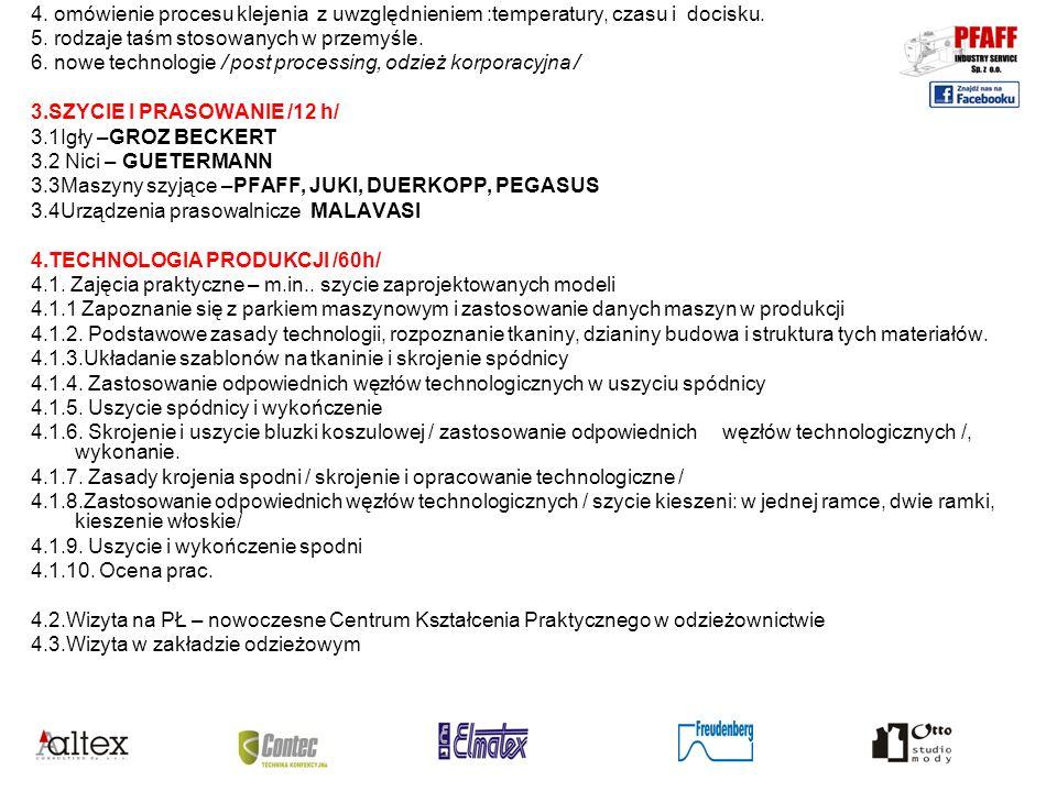 INFORMACJE ORGANIZACYJNE: Miejsce kursu: Pfaff Industry Service: Łódź, Lodowa 80 Contec: Ksawerów, ul.