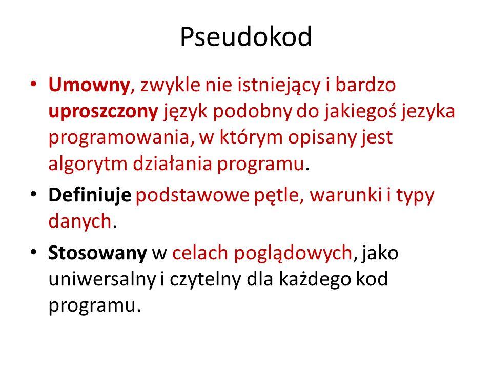 Pseudokod Pseudokodem nazywany jest taki sposób zapisu algorytmu, który, zachowując strukturę charakterystyczną dla kodu zapisanego w języku programowania, rezygnuje ze ścisłych reguł składniowych na rzecz prostoty i czytelności.