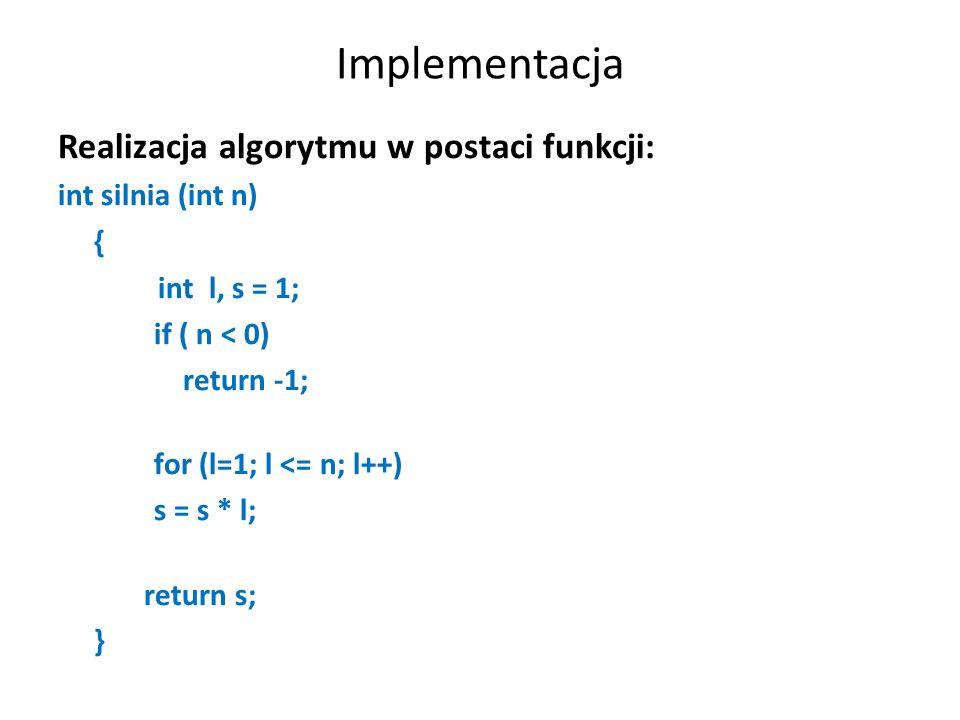 Zapis programu na obliczenie n.