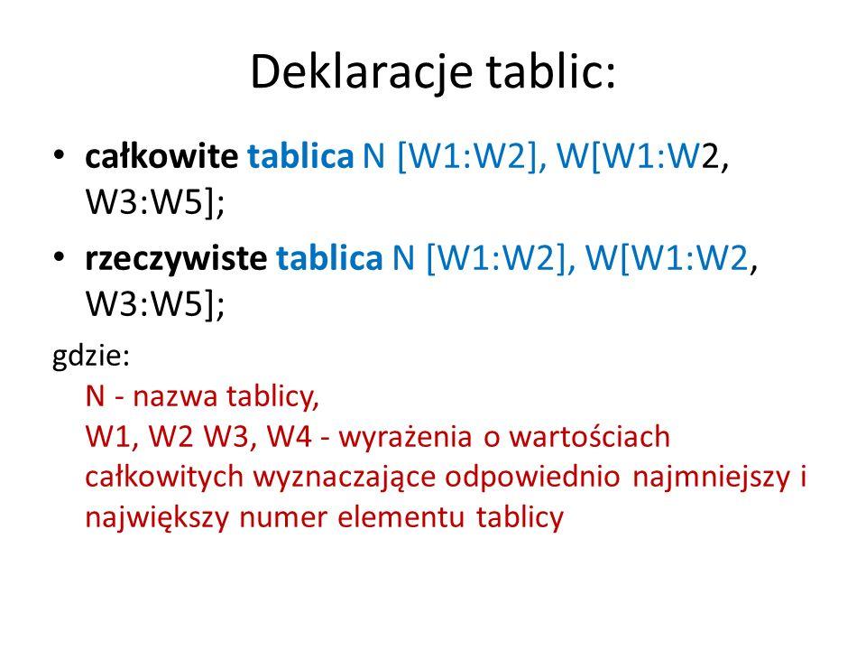 3) Instrukcja przypisania n:=W; lub I; gdzie N - nazwa zmiennej, W- wyrażenie; I - instrukcja prosta