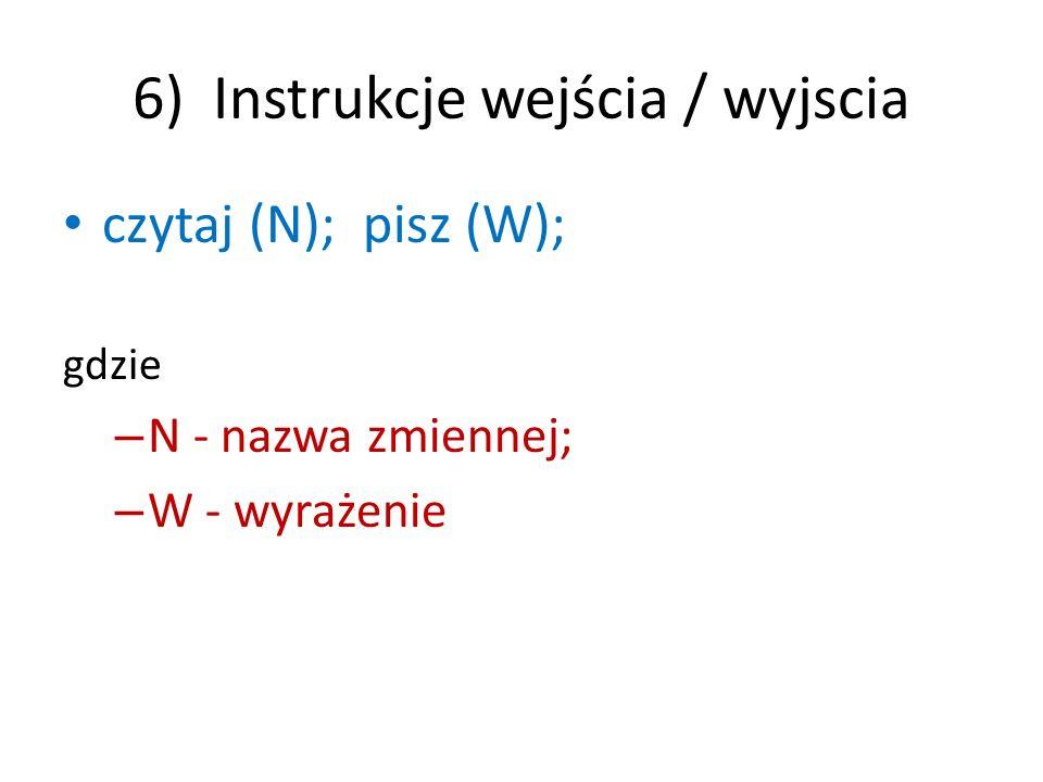 7) Instrukcja procedury Deklaracja : procedura P(W); S; treść; gdzie: – P - nazwa procedury, – W - wykaz parametrów formalbycg, – S - specyfikacja (deklaracja) parametrów formalnych Wywołanie: P(WA); gdzie: – P - nazwa procedury, – WA - wykaz parametrów aktualnych