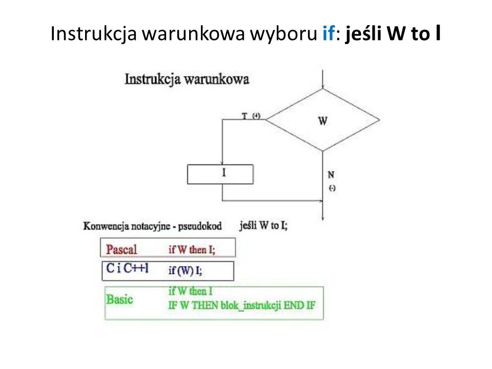 Instrukcja wyboru if W then I1 else I2 - alternatywa : jeśli W to I1 w przeciwnym przypadku I2;