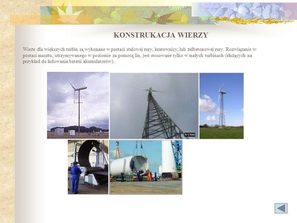 KONSTRUKACJA WIERZY Wieże dla większych turbin są wykonane w postaci stalowej rury, kratownicy, lub żelbetonowej rury.
