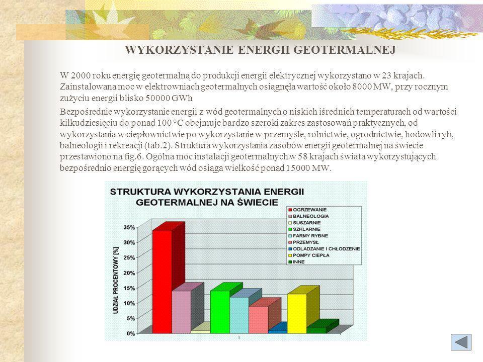 WYKORZYSTANIE ENERGII GEOTERMALNEJ W 2000 roku energię geotermalną do produkcji energii elektrycznej wykorzystano w 23 krajach.