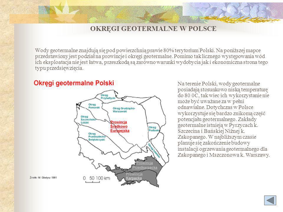 OKRĘGI GEOTERMALNE W POLSCE Wody geotermalne znajdują się pod powierzchnią prawie 80% terytorium Polski.