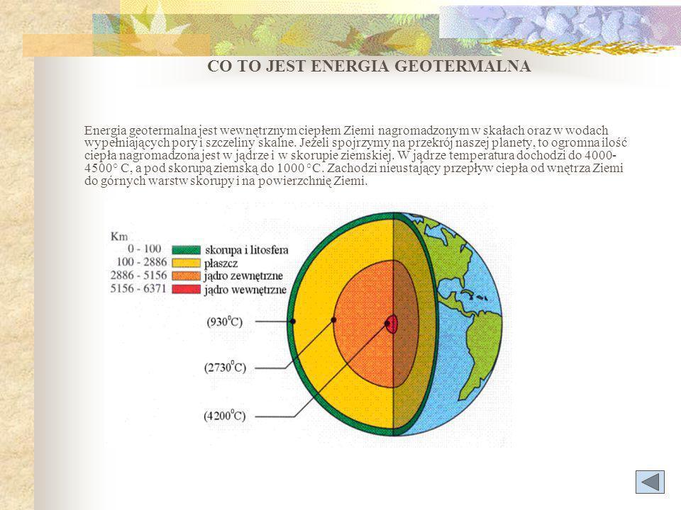 CO TO JEST ENERGIA GEOTERMALNA Energia geotermalna jest wewnętrznym ciepłem Ziemi nagromadzonym w skałach oraz w wodach wypełniających pory i szczeliny skalne.