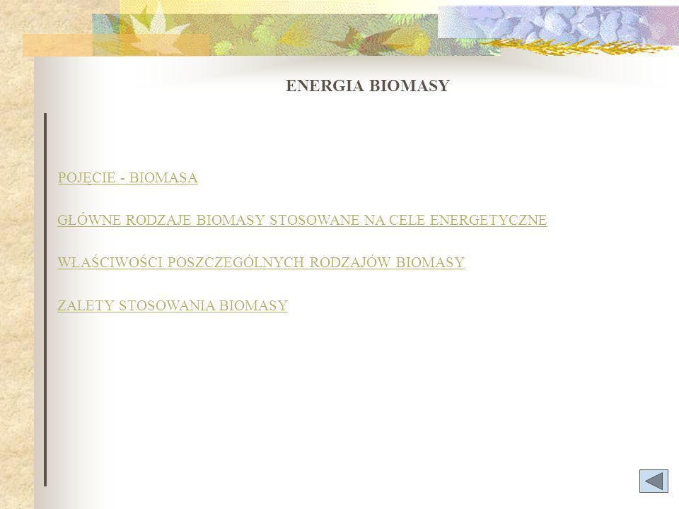 POJĘCIE - BIOMASA ENERGIA BIOMASY GŁÓWNE RODZAJE BIOMASY STOSOWANE NA CELE ENERGETYCZNE WŁAŚCIWOŚCI POSZCZEGÓLNYCH RODZAJÓW BIOMASY ZALETY STOSOWANIA BIOMASY