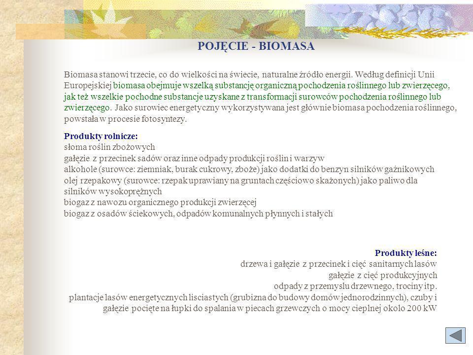 POJĘCIE - BIOMASA Produkty rolnicze: słoma roślin zbożowych gałęzie z przecinek sadów oraz inne odpady produkcji roślin i warzyw alkohole (surowce: ziemniak, burak cukrowy, zboże) jako dodatki do benzyn silników gaźnikowych olej rzepakowy (surowce: rzepak uprawiany na gruntach częściowo skażonych) jako paliwo dla silników wysokoprężnych biogaz z nawozu organicznego produkcji zwierzęcej biogaz z osadów ściekowych, odpadów komunalnych płynnych i stałych Biomasa stanowi trzecie, co do wielkości na świecie, naturalne źródło energii.