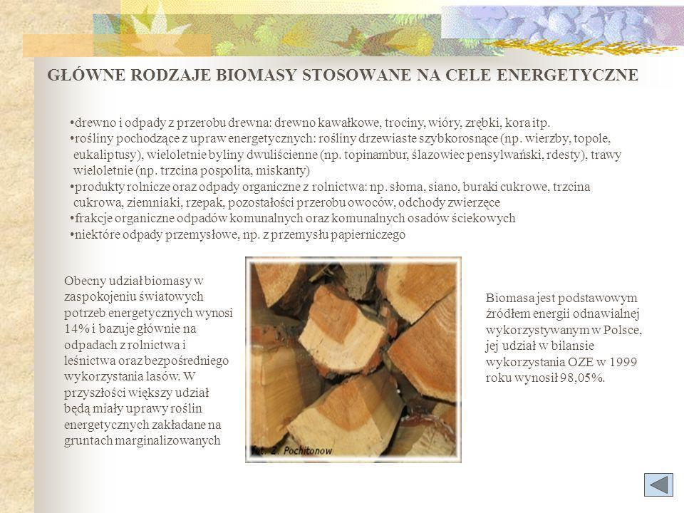 GŁÓWNE RODZAJE BIOMASY STOSOWANE NA CELE ENERGETYCZNE drewno i odpady z przerobu drewna: drewno kawałkowe, trociny, wióry, zrębki, kora itp.