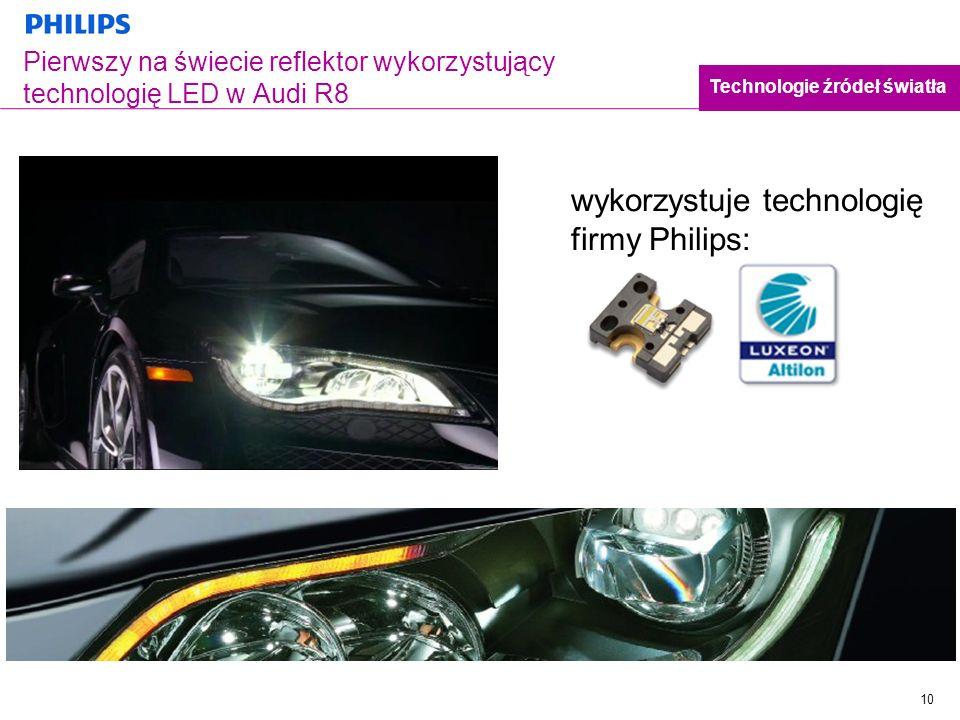 10 Pierwszy na świecie reflektor wykorzystujący technologię LED w Audi R8 wykorzystuje technologię firmy Philips: Technologie źródeł światła