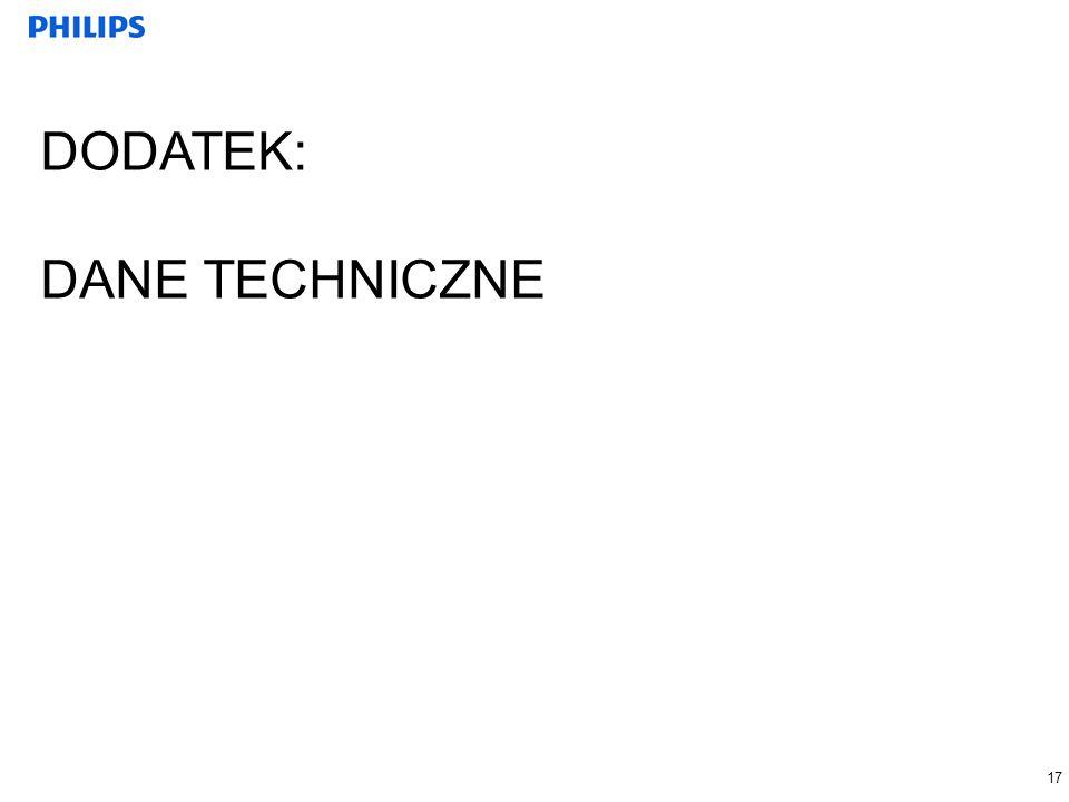 17 DODATEK: DANE TECHNICZNE