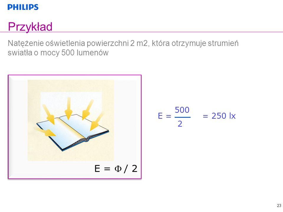 23 E = / 2 Przykład Natężenie oświetlenia powierzchni 2 m2, która otrzymuje strumień swiatła o mocy 500 lumenów E = = 250 lx 500 2