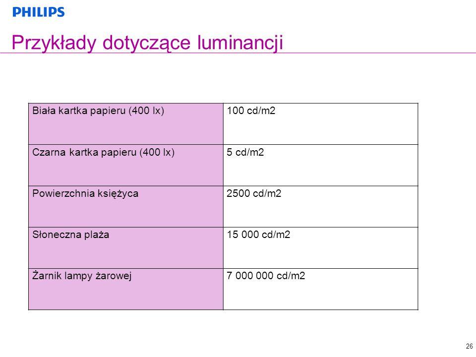 26 Przykłady dotyczące luminancji Biała kartka papieru (400 lx)100 cd/m2 Czarna kartka papieru (400 lx)5 cd/m2 Powierzchnia księżyca2500 cd/m2 Słonecz