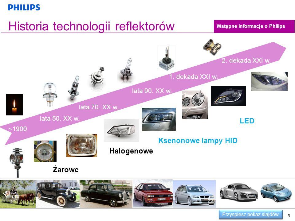5 Historia technologii reflektorów lata 70. XX w. lata 90. XX w. lata 50. XX w. ~1900 1. dekada XXI w. 2. dekada XXI w. Żarowe Halogenowe Ksenonowe la
