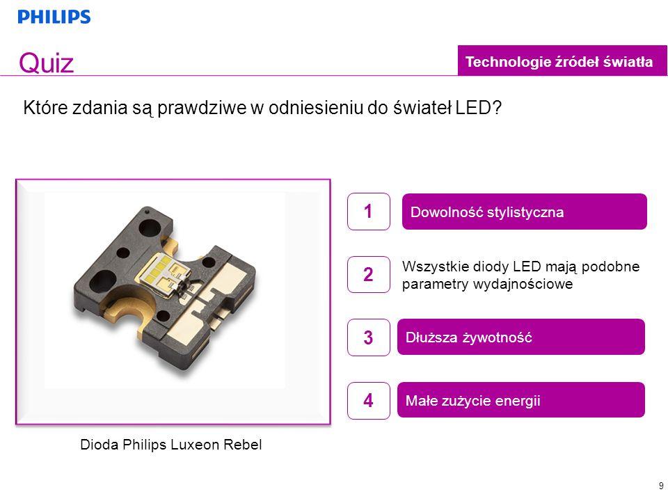 Małe zużycie energii 9 Quiz Które zdania są prawdziwe w odniesieniu do świateł LED? Technologie źródeł światła Dłuższa żywotność Małe zużycie energii