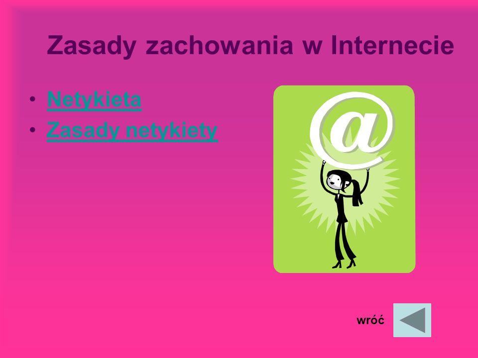 Historia Internetu Zasady zachowania w Internecie Zasady zachowania w Internecie Zasady telefonowania Quiz Bibliografia