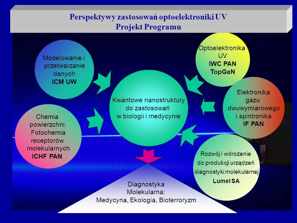 Kwantowe nanostruktury do zastosowań w biologii i medycynie Modelowanie i przetwarzanie danych ICM UW Optoelektronika UV IWC PAN TopGaN Chemia powierz
