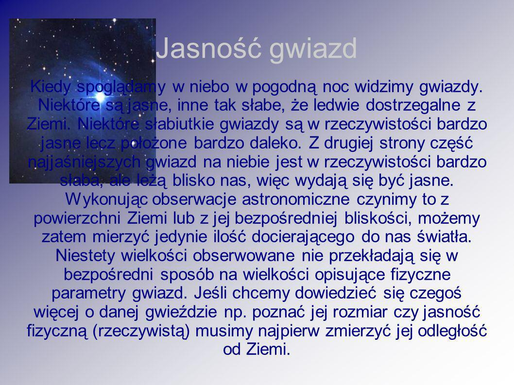Jasność gwiazd Kiedy spoglądamy w niebo w pogodną noc widzimy gwiazdy. Niektóre są jasne, inne tak słabe, że ledwie dostrzegalne z Ziemi. Niektóre sła