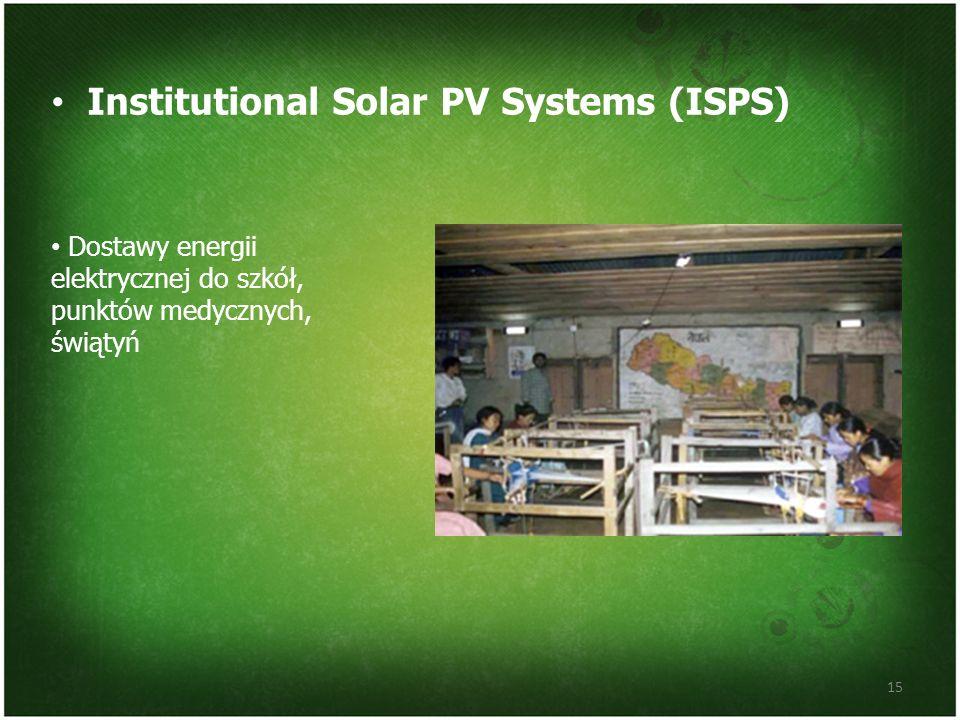 Institutional Solar PV Systems (ISPS) 15 Dostawy energii elektrycznej do szkół, punktów medycznych, świątyń