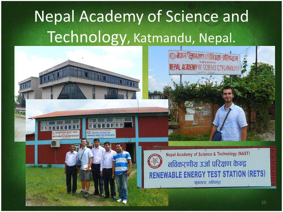 Nepal Academy of Science and Technology, Katmandu, Nepal. 20