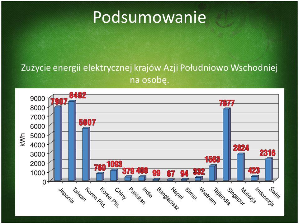 Podsumowanie Zużycie energii elektrycznej krajów Azji Południowo Wschodniej na osobę. 31