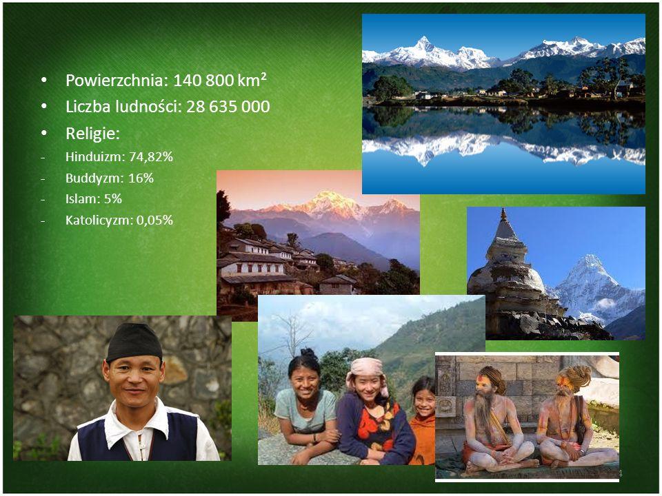 Powierzchnia: 140 800 km² Liczba ludności: 28 635 000 Religie: -Hinduizm: 74,82% -Buddyzm: 16% -Islam: 5% -Katolicyzm: 0,05% 4