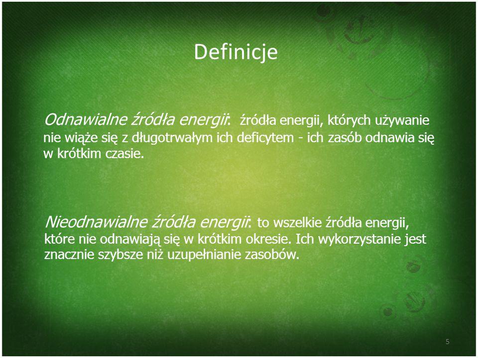 Odnawialne źródła energii: źródła energii, których używanie nie wiąże się z długotrwałym ich deficytem - ich zasób odnawia się w krótkim czasie. Defin