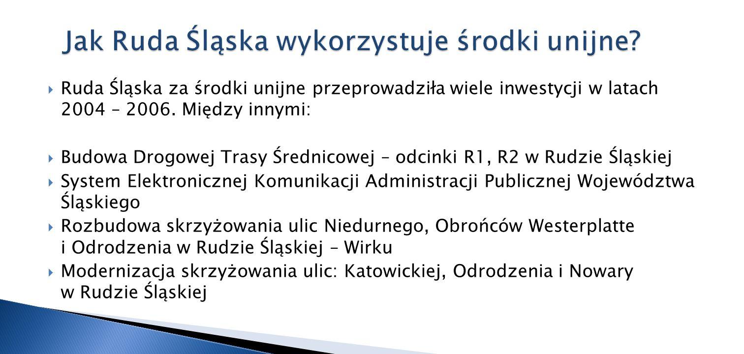 Ruda Śląska za środki unijne przeprowadziła wiele inwestycji w latach 2004 – 2006. Między innymi: Budowa Drogowej Trasy Średnicowej – odcinki R1, R2 w