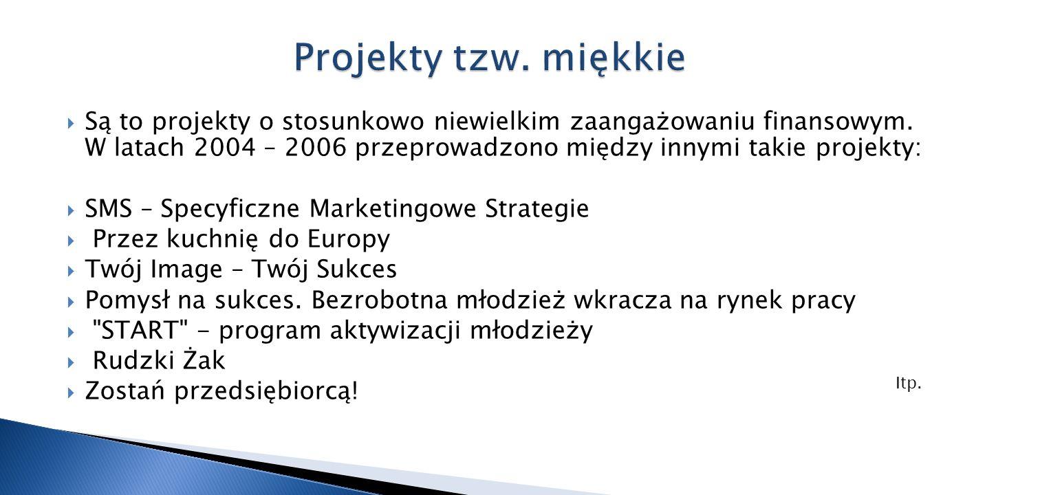 Są to projekty o stosunkowo niewielkim zaangażowaniu finansowym. W latach 2004 – 2006 przeprowadzono między innymi takie projekty: SMS – Specyficzne M