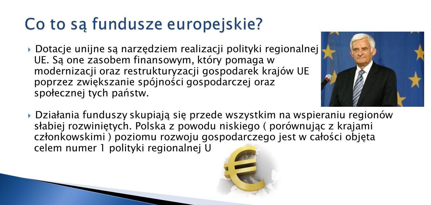 Dotacje unijne są narzędziem realizacji polityki regionalnej UE. Są one zasobem finansowym, który pomaga w modernizacji oraz restrukturyzacji gospodar