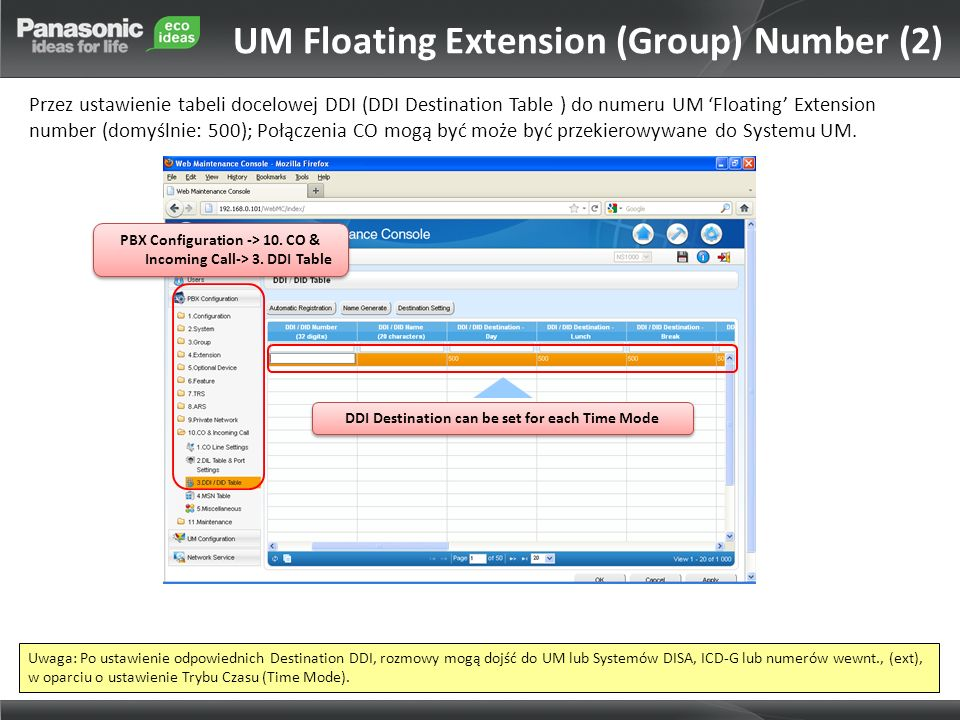 PBX Configuration -> 10. CO & Incoming Call-> 3. DDI Table DDI Destination can be set for each Time Mode UM Floating Extension (Group) Number (2) Prze