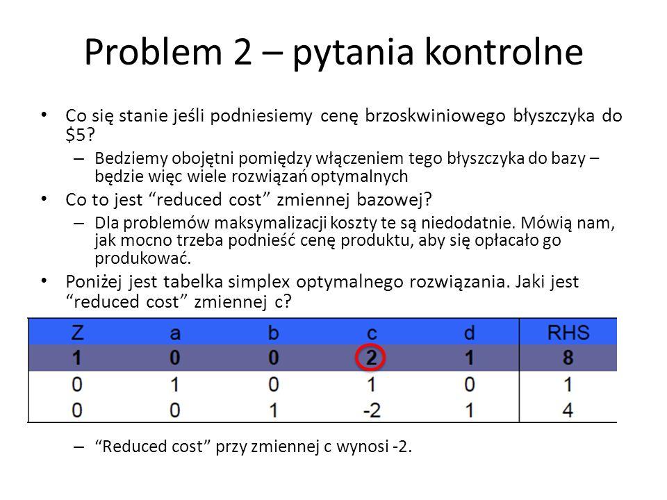 Problem 2 – pytania kontrolne Co się stanie jeśli podniesiemy cenę brzoskwiniowego błyszczyka do $5? – Bedziemy obojętni pomiędzy włączeniem tego błys